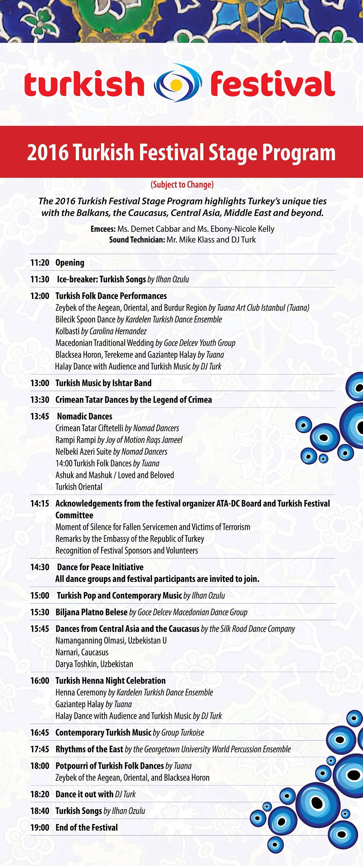 2016 Turkish Festival Schedule